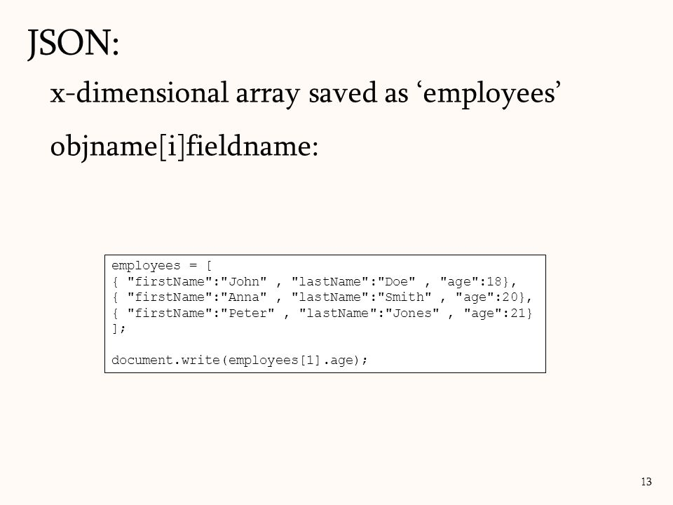 JSON: x-dimensional array saved as 'employees' objname[i]fieldname: